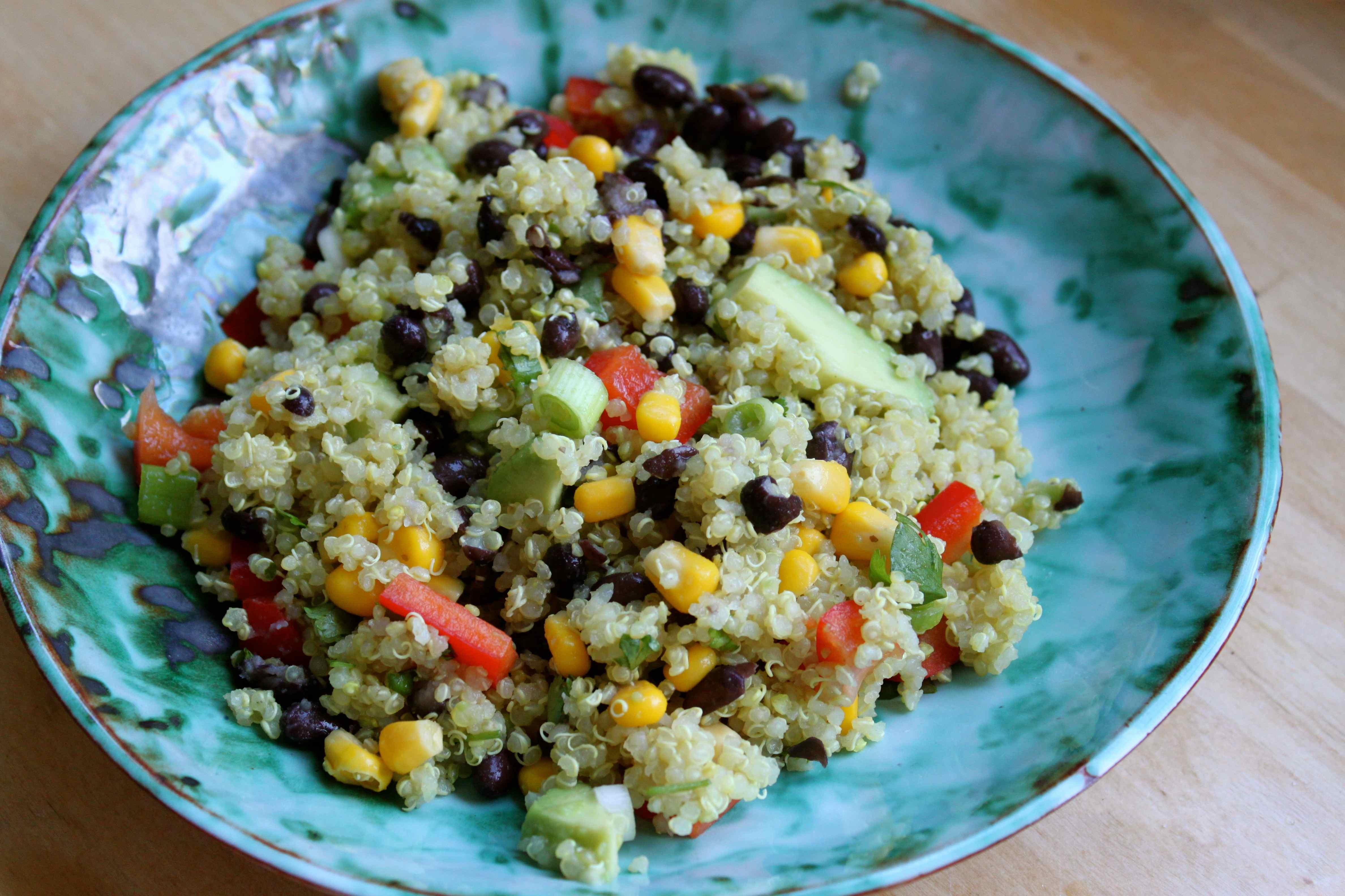 Red Quinoa And Black Bean Vegetable Salad Recipe — Dishmaps