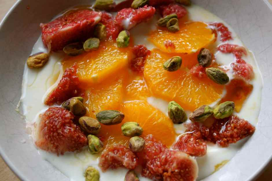 yogurt, orange, fig and pistachio