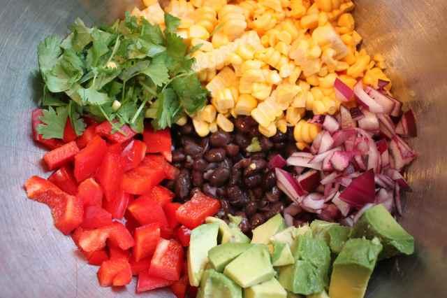 Black Bean SW salad ingredients