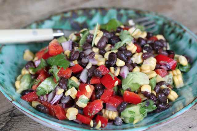 Black bean SW salad on plate