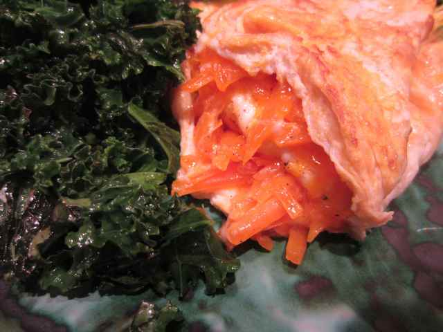 Cheese omelette and kale