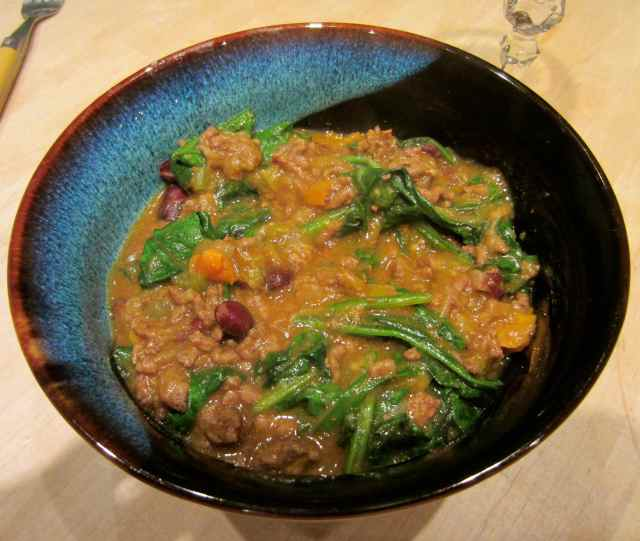 Chilli and spinach