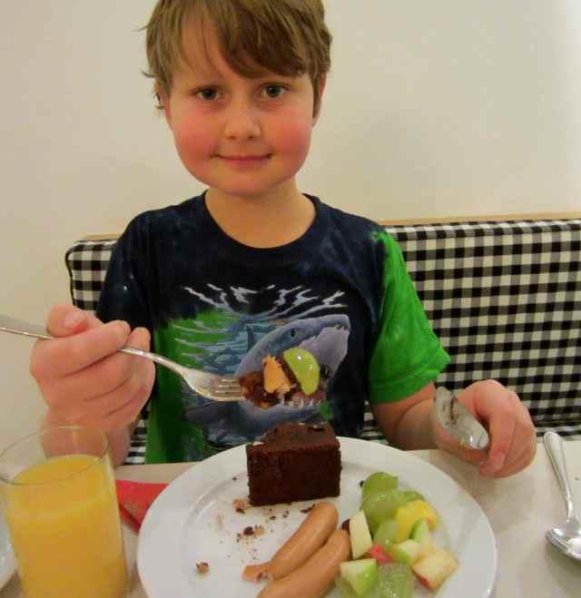 chocloate cake and frankfurter