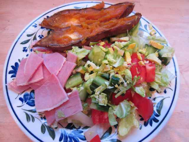 Ham, salad and sweet potato