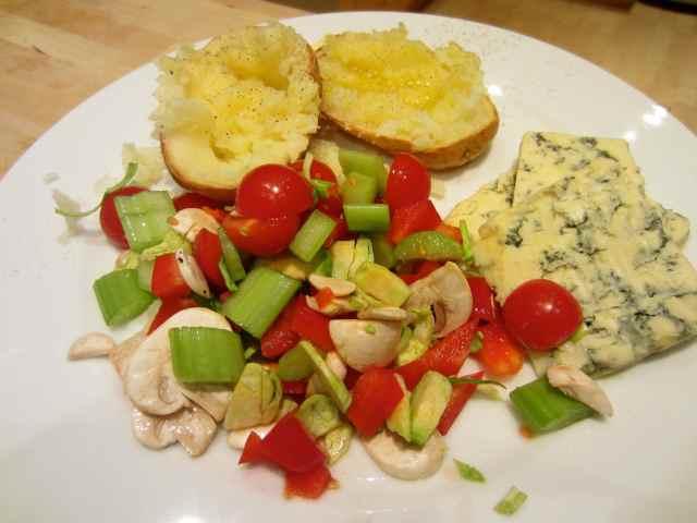 Jacket potato, salad and Stilton