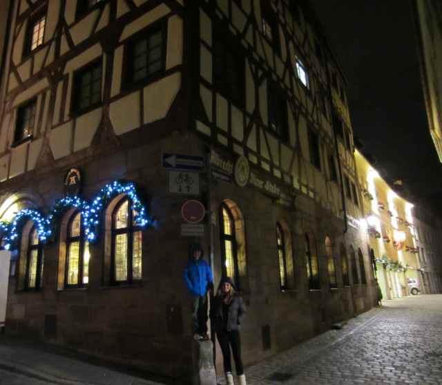 L and H outside Albrecht Durer Strube