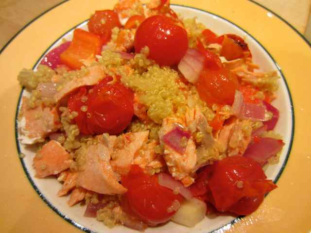 Quinoa, cherry toms and salmon