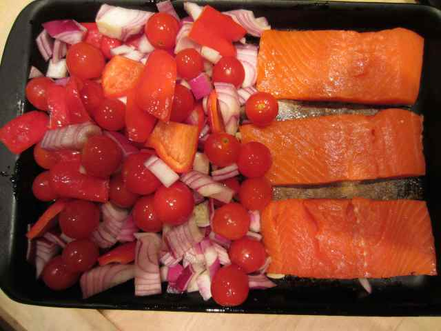 Salmon and mixed veg