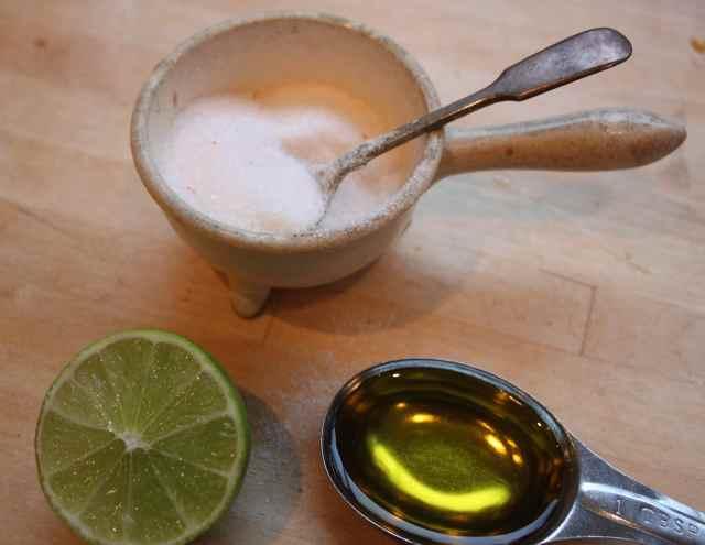 salt, olive oil and lime