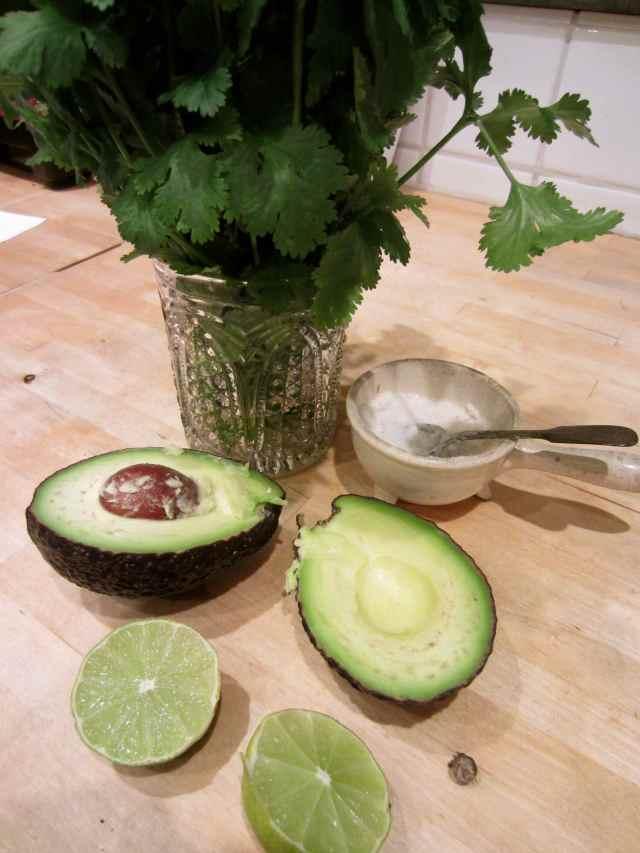 avocado, lime and salt