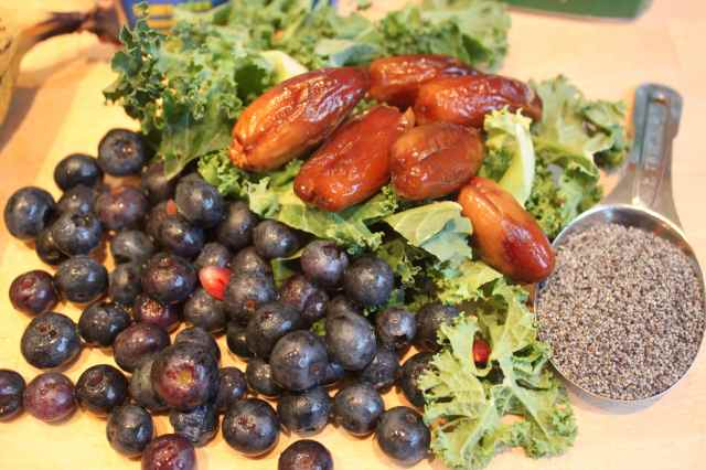 blueberries, dates and kale