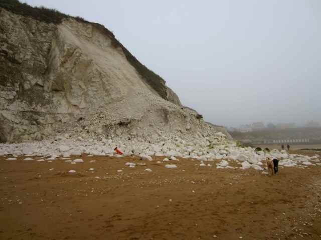 Chalk landslide at Louisa Bay