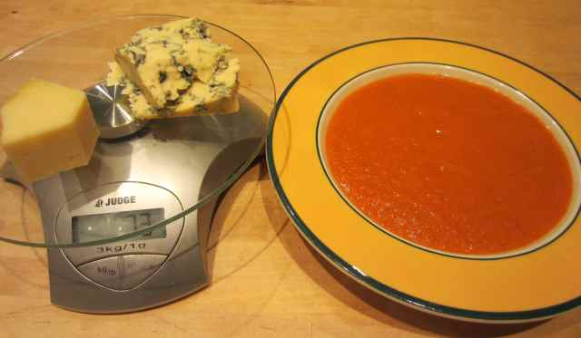 Cheese on scales and soup