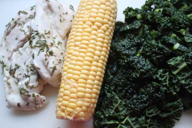 chicken, sweetcorn and cavolo nero