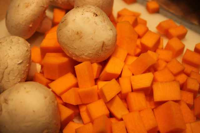 cubed squash and mushrooms