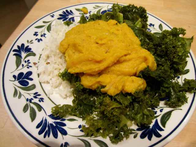 Dahl, rice and kale