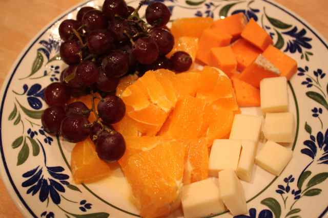 grapes, orange and cheese