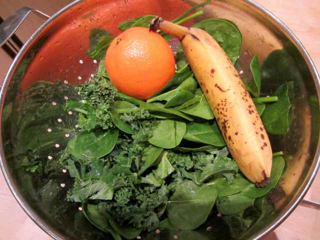 kale etc in colander