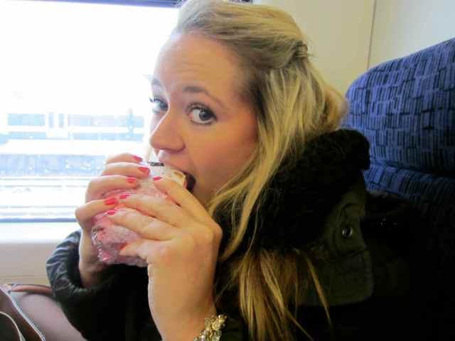 Lara on train