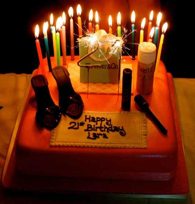 Lara's birthday cake with sparklers