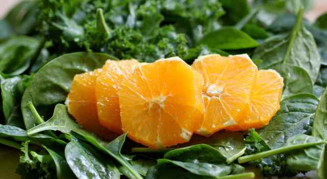 orange, kale and spinach