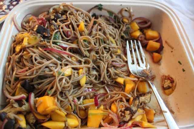 Ottolenghi noodle, aubergine and mango salad