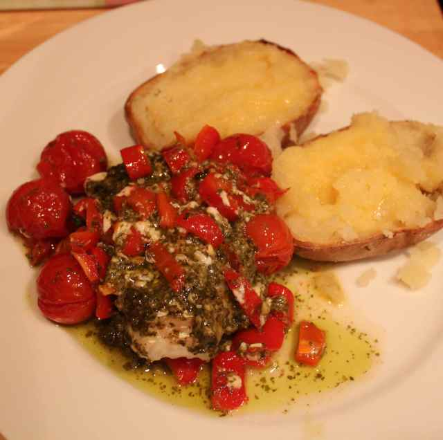 pesto fish and potato