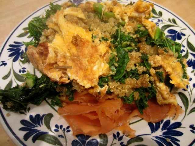 Quinoa, eggs, kale and salmon