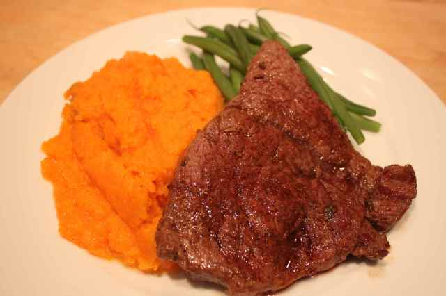 steak, butternut and green beans