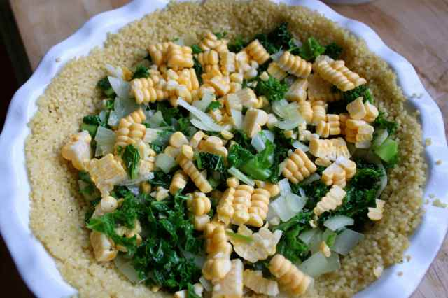 vegetables in millet crust