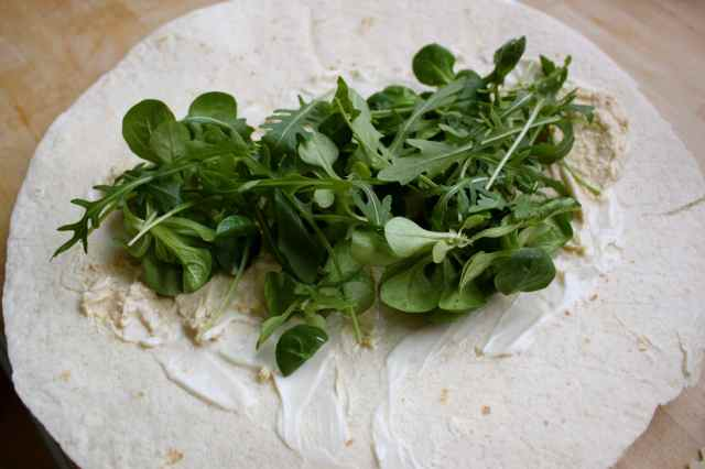 wrap with humous and greenery