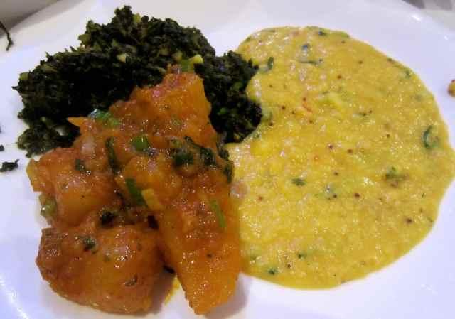 Bombay Potato, Tarka Dahl and Spinach