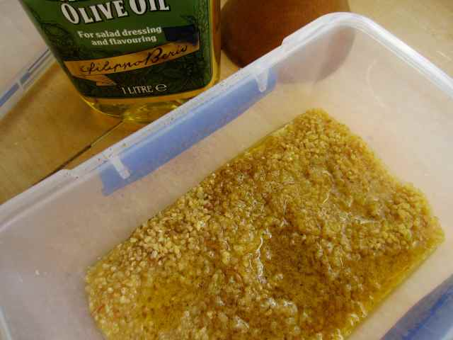 bulgar wheat, lemon juice and oil