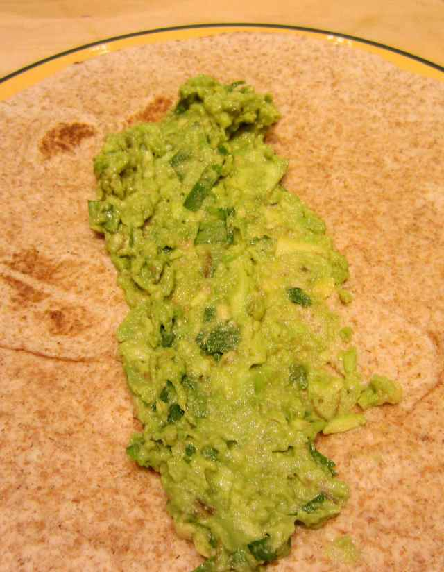 guacamole on wrap