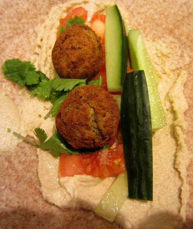 humus and falafel in wrap