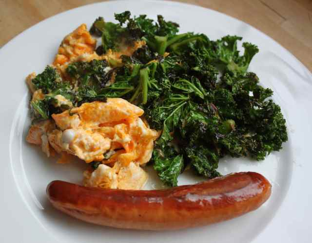 kale, eggs and frankfurter