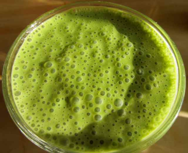 Matcha green smoothie close up