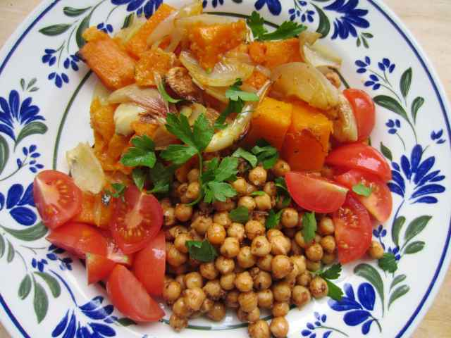 Merguez chick peas and roasted squah