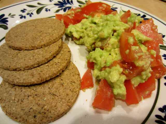 Oatcakes, toms and avocado