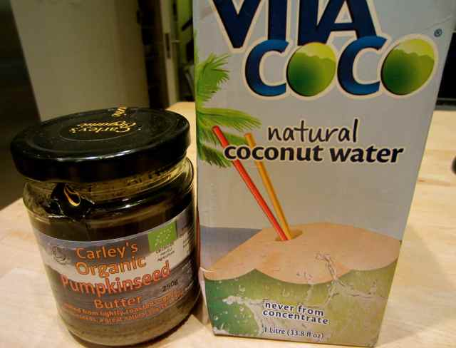 pumpkinseed butter and coconut water