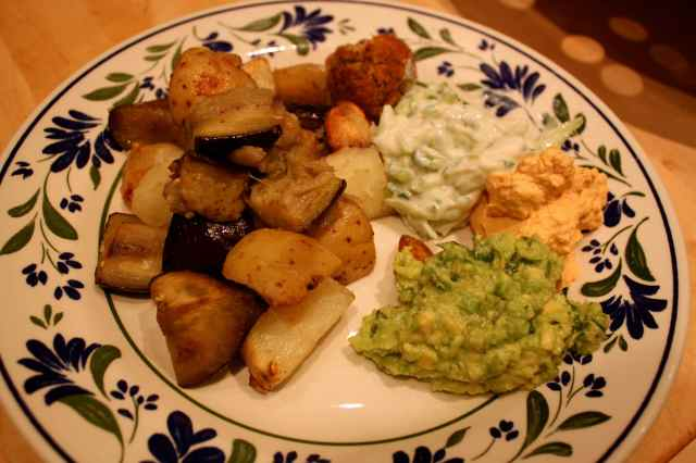 roast potatoes and aubergine 1