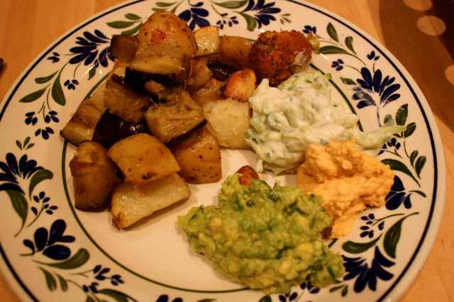 roast potatoes and aubergine 2