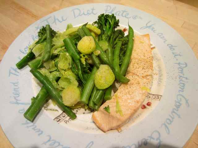 salmon and green veg