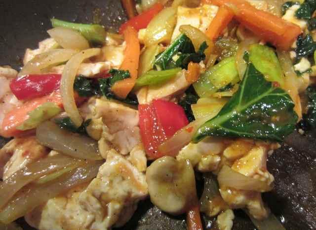 Scechuan tofu close up