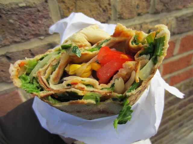 Spinach wrap and salad