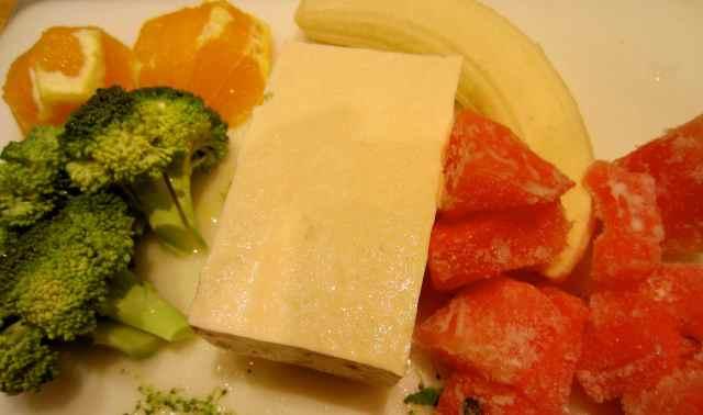 tofu and fruits and broccoli
