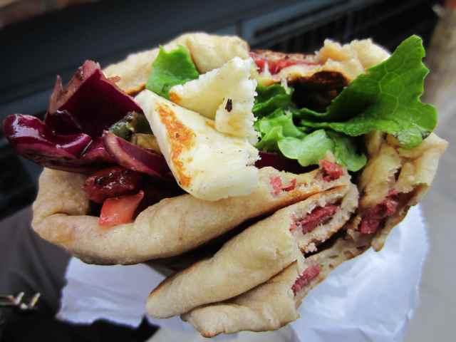 Turkish beef sausage wrap