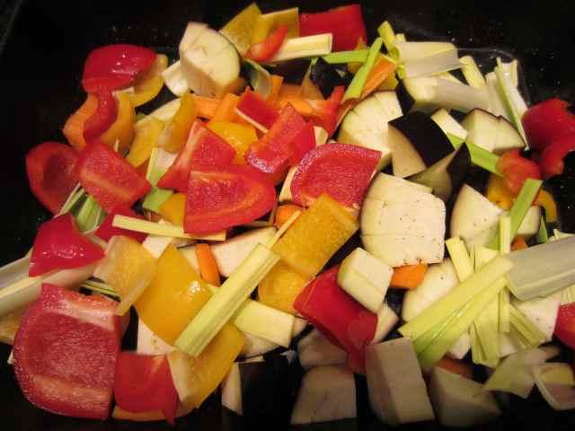 veggies in roasting tray