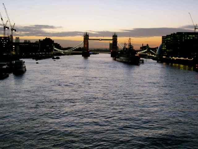 view towards Tower Bridge from London Bridge