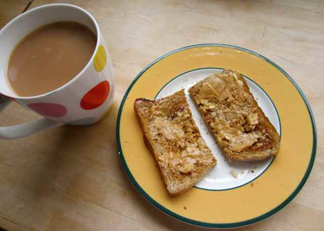 almond butter on toast and tea